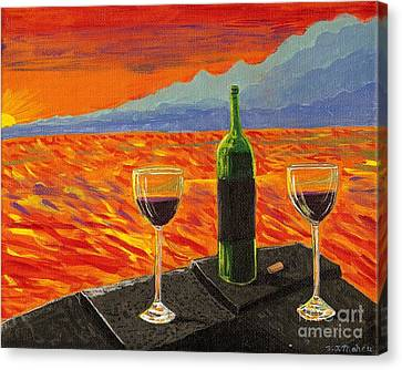 Wine On Sunset Terrace Canvas Print by Vicki Maheu
