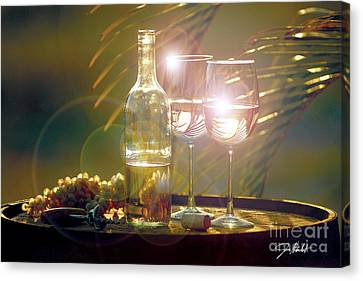 Wine On The Barrel Canvas Print by Jon Neidert