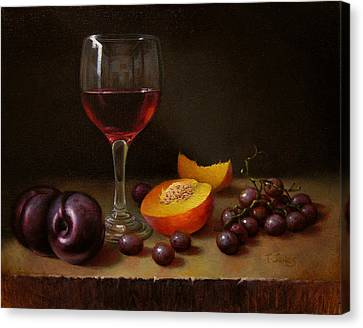 Wine Peach And Plums Canvas Print