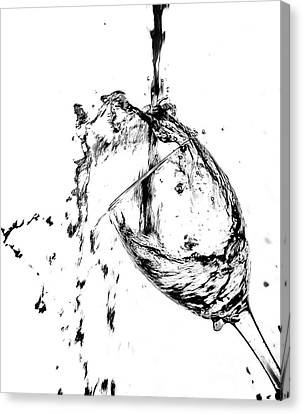 Wine Pour Splash In Black And White 2 Canvas Print