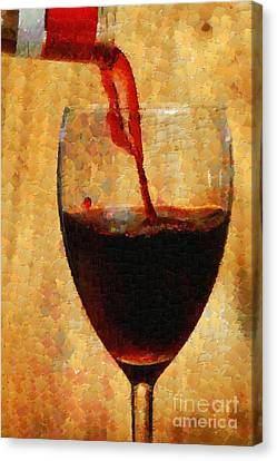 Wine Pouring Into Glass Painting Canvas Print