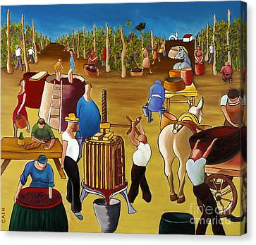 Beaujolais Canvas Print - Wine Pressing 2  by William Cain