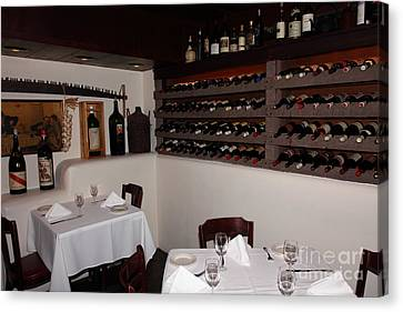 Wine Rack And Dining Tables In The Private Dining Room At The Swiss Hotel Sonoma California 5d24463 Canvas Print by Wingsdomain Art and Photography