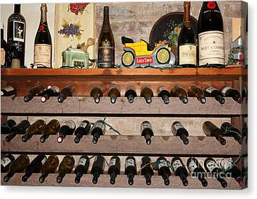 Wine Rack In The Cellar Room At The Swiss Hotel In Sonoma California 5d24445 Canvas Print by Wingsdomain Art and Photography
