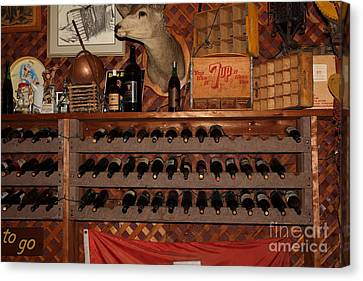 Wine Rack In The Cellar Room At The Swiss Hotel In Sonoma California 5d24449 Canvas Print by Wingsdomain Art and Photography