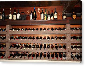 Wine Rack In The Private Dining Room At The Swiss Hotel In Sonoma California 5d24461 Canvas Print by Wingsdomain Art and Photography