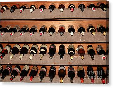 Wine Rack In The Private Dining Room At The Swiss Hotel In Sonoma California 5d24462 Canvas Print by Wingsdomain Art and Photography