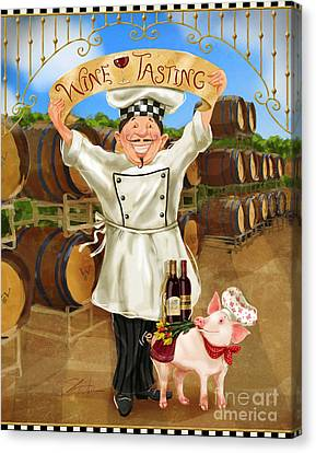 Cheese Canvas Print - Wine Tasting Chef by Shari Warren