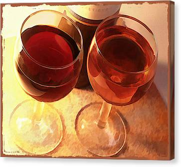 Wine Toast In Watercolor Canvas Print