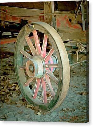 Old Wagon Wheel Canvas Print - Wine Wagon Wheel Digital by Barbara Snyder