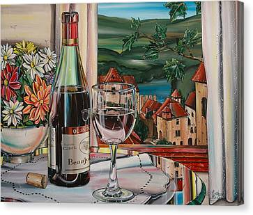 Beaujolais Canvas Print - Wine With River View by Anthony Mezza