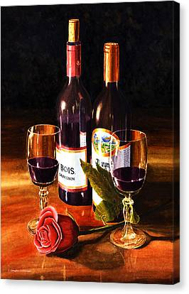 Wine With Rose Canvas Print