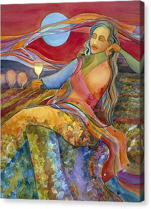 Wine Woman And Song Canvas Print by Jen Norton