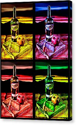 Canvas Print featuring the digital art Wine X 4 by Sharon Beth