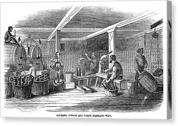 Winemaking Bottling, 1866 Canvas Print by Granger