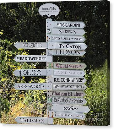 Bayarea Canvas Print - Winery Street Sign In The Sonoma California Wine Country 5d24601 Square by Wingsdomain Art and Photography