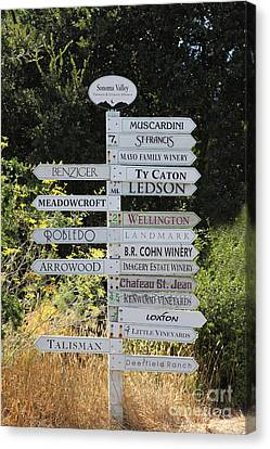 Bayarea Canvas Print - Winery Street Sign In The Sonoma California Wine Country 5d24601 by Wingsdomain Art and Photography