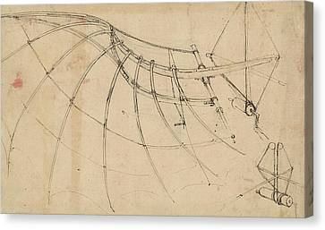 Wing Covered With Cloth And Moved By Means Of Crank Winch Below Right Detail Of Winch Canvas Print by Leonardo Da Vinci