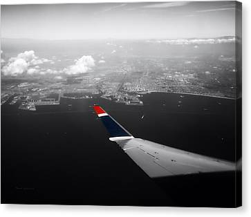 Airoplane Canvas Print - Wing Tip View Over Long Beach Ca Sc by Thomas Woolworth