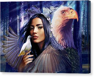 Winged Bretheren Land Variant 1 Canvas Print by Andrew Farley
