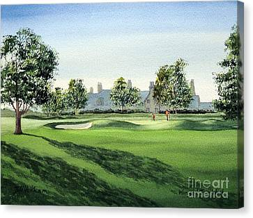 Canvas Print featuring the painting Winged Foot West Golf Course 18th Hole by Bill Holkham