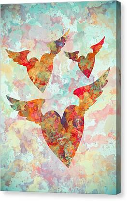 Winged Hearts Watercolor Painting Canvas Print by Georgeta Blanaru