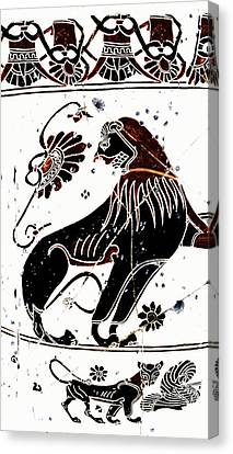 Winged Lion - Detail No. 1 Canvas Print by Steve Bogdanoff