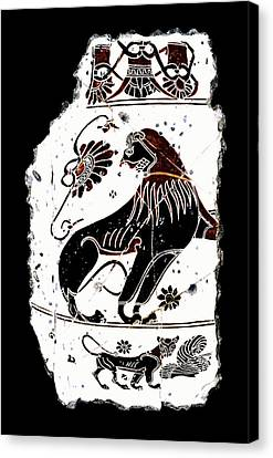 Winged Lion Canvas Print by Steve Bogdanoff