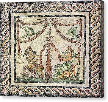 Winged Maidens Weaving Garlands Canvas Print by Sheila Terry
