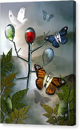 Bolts Canvas Print - Winged Metamorphose by Billie Jo Ellis