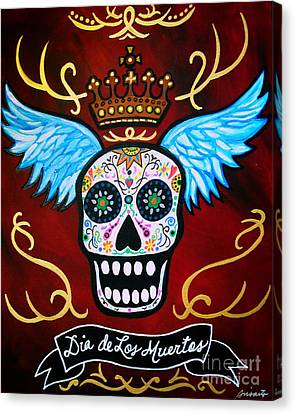 Canvas Print featuring the painting Winged Muertos by Pristine Cartera Turkus
