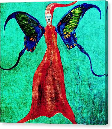 Canvas Print featuring the digital art Wings 13 by Maria Huntley