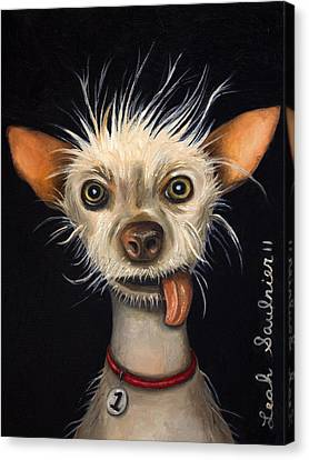 Winner Of The Ugly Dog Contest 2011 Canvas Print by Leah Saulnier The Painting Maniac