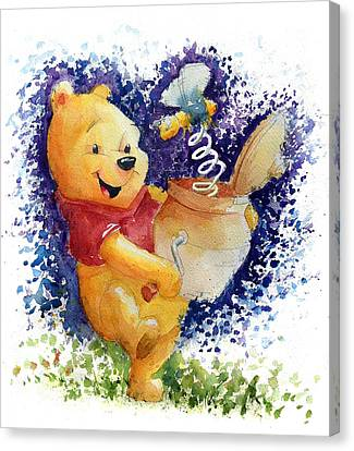 Winnie The Pooh And Honey Pot Canvas Print by Andrew Fling