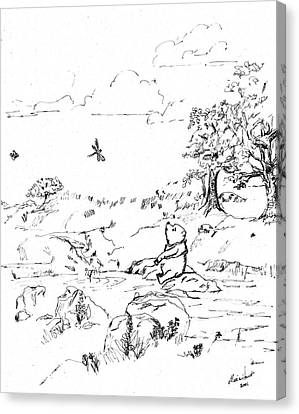 Ink Drawing Canvas Print - Winnie The Pooh By The Creek   After E H Shepard by Maria Hunt