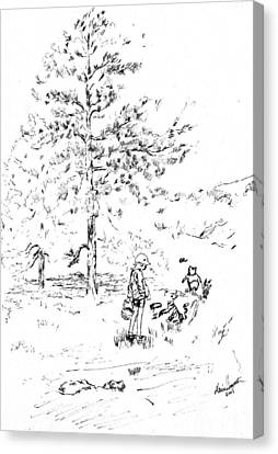 Winnie The Pooh Goes On A Picnic   After E H Shepard Canvas Print