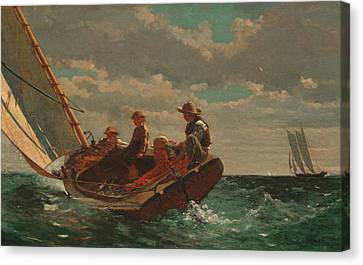 Winslow Homer Breezing Up Canvas Print by Winslow Homer