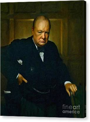 Power Canvas Print - Winston Churchill by Adam Asar