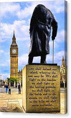 Big Ben Canvas Print - Winston Churchill - Immortal Words - Never Surrender by Mark E Tisdale