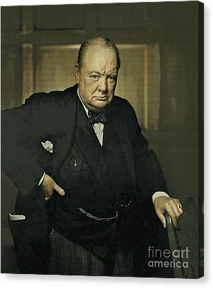 Winston Churchill Prime Minister Of Uk Canvas Print by Celestial Images