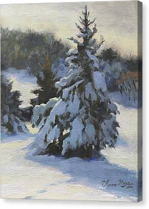 Snow-covered Landscape Canvas Print - Winter Adornments by Anna Rose Bain