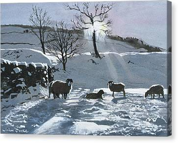 Winter Afternoon At Dentdale Canvas Print by John Cooke