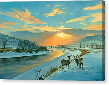 Fawn Canvas Print - Winter Along The Yellowstone by Paul Krapf