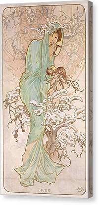 Winter Canvas Print by Alphonse Marie Mucha