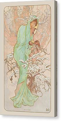 Mucha Canvas Print - Winter by Alphonse Mucha