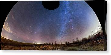 Winter And Spring Sky Panorama Canvas Print by Alan Dyer