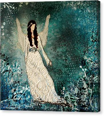 Winter Angel Inspirational Christian Mixed Media Painting  Canvas Print by Janelle Nichol