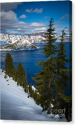 Wizard Island Canvas Print - Winter At Crater Lake by Inge Johnsson
