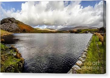 Llyn Y Dywarchen Canvas Print - Winter At Dywarchen Lake by Adrian Evans