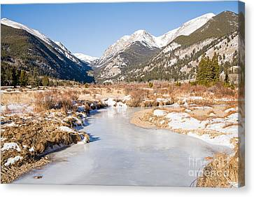 Winter At Horseshoe Park In Rocky Mountain National Park Canvas Print